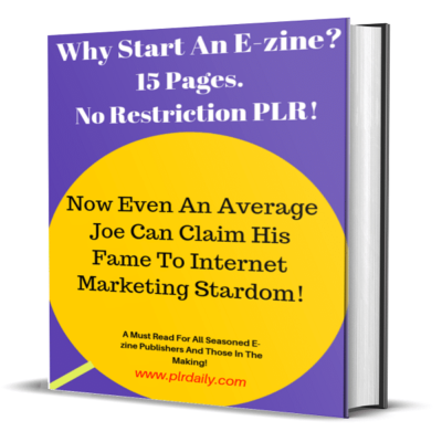 Why Start An E-zine 15 Pages Ebook No Restriction PLR