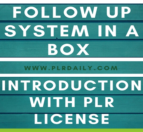 Follow Up System In A Box Introduction with PLR